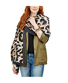 Animal Perfection Cashmere-Like Leopard Scarf with Eyelash Fringe