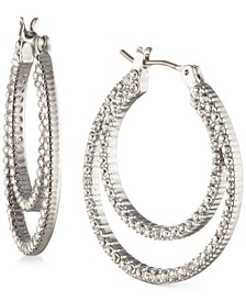Small Pavé Double-Row Hoop Earrings, 1""