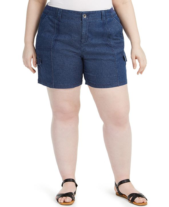 Style & Co Plus Size Chambray Shorts, Created for Macy's