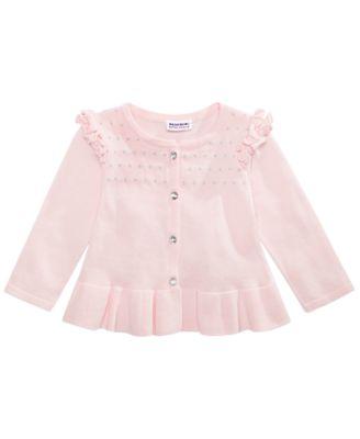 Little Girls Cotton Ruffled Cardigan