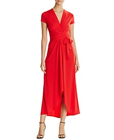 High-Low Faux-Wrap Dress, Regular & Petite