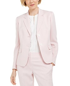 Petite Herringbone Two-Button Blazer