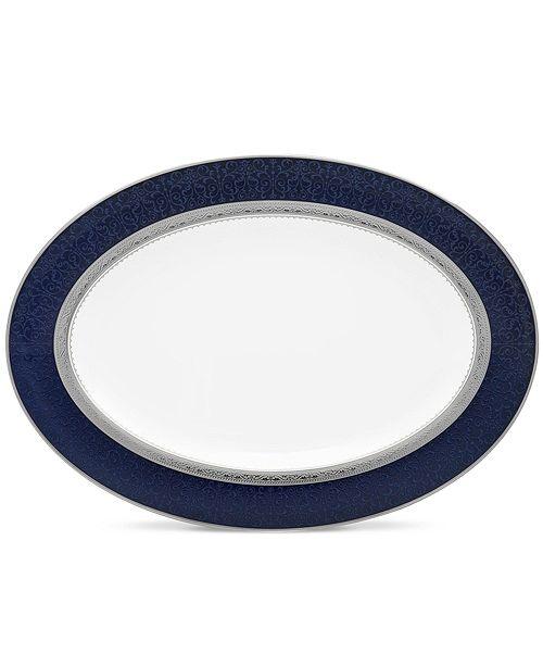 "Noritake Odessa Cobalt Platinum Oval Platter, 14"""