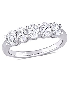 Oval-Cut Certified Diamond (1 ct. t.w.) Semi-Eternity Anniversary Band in 14k White Gold