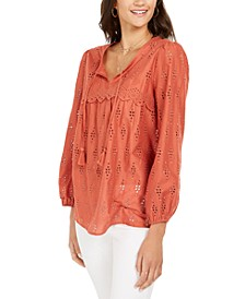 Eyelet Tassele Blouse, Created for Macy's