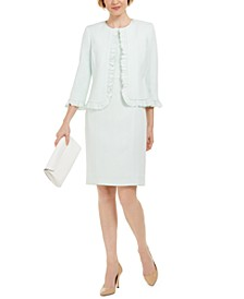 Stretch Crepe Sheath Dress and Crepe Open Jacket With Ruffle Trim