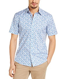 Men's Slim-Fit Stretch Floral-Print Shirt