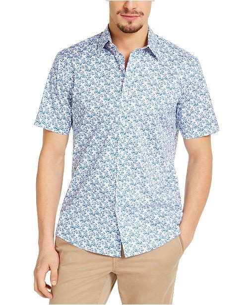 Michael Kors Men's Slim-Fit Stretch Floral-Print Shirt