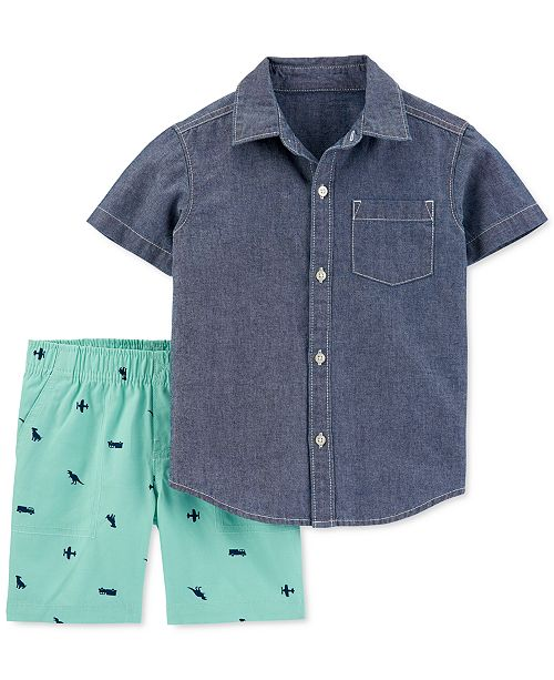 Carter's Baby Boys 2-Pc. Cotton Chambray Button-Front Shirt & Canvas Shorts Set