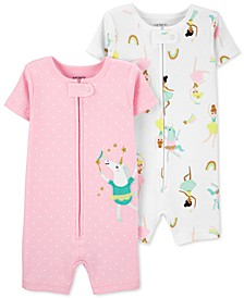 Baby Girls 2-Pk. Unicorn & Ballet-Print Cotton Romper Pajamas