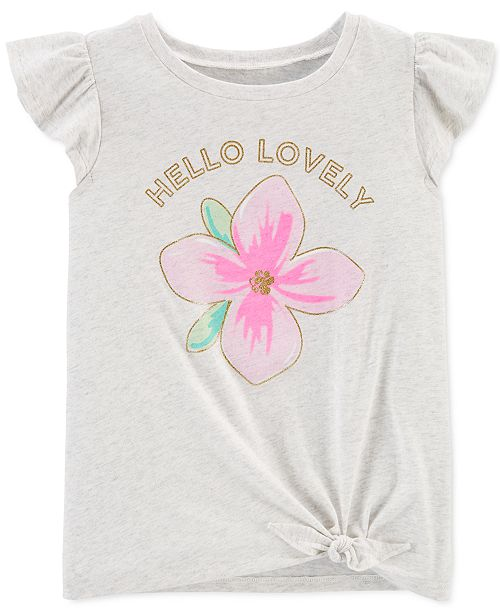 Carter's Little & Big Girls Hello Lovely-Print Tie-Front Cotton T-Shirt