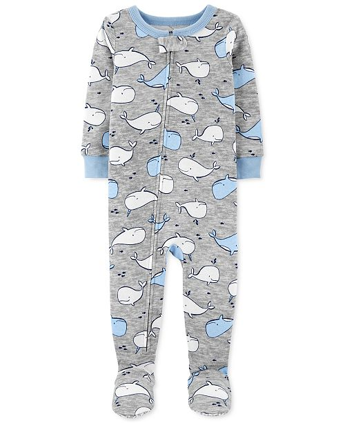 Carter's Baby Boys 1-Pc. Whale-Print Footed Pajamas