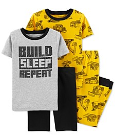 Little & Big Boys 4-Pc. Cotton Construction Pajamas Set