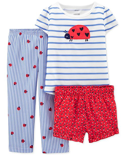Carter's Toddler Girls 3-Pc. Ladybug Pajamas Set