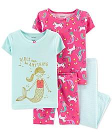 Toddler Girls 4-Pc. Mermaid Cotton Pajamas Set