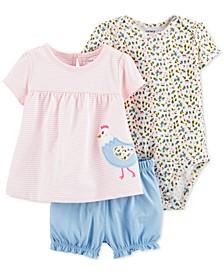 Baby Girls 3-Pc. Cotton Chicken Shirt, Bodysuit & Bubble Shorts Set