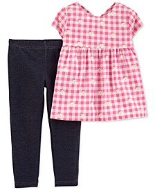 Baby Girls 2-Pc. Gingham-Print Top & Knit Denim Leggings Set