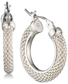 """Small Mesh Hoop Earrings, 0.85"""""""