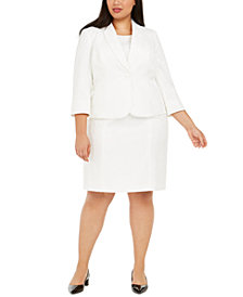 Kasper Plus Size Text-Leaf Jacquard Dress and Jacket