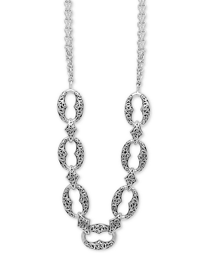 """Lois Hill - Filigree Link Double Strand 17"""" Statement Necklace in Sterling Silver"""