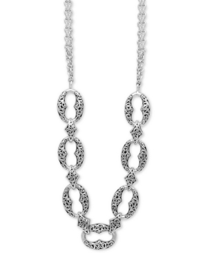 """Filigree Link Double Strand 17"""" Statement Necklace in Sterling Silver"""
