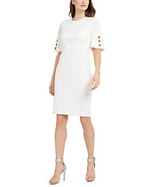 Button-Sleeve Sheath Dress