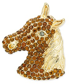 Gold-Tone Pavé Horse Head Pin, Created for Macy's