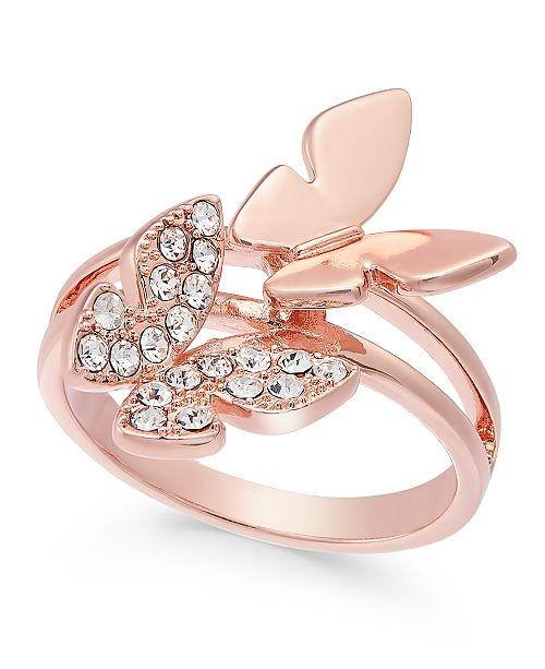 Charter Club Rose Gold-Tone Pavé Butterfly Ring, Created for Macy's