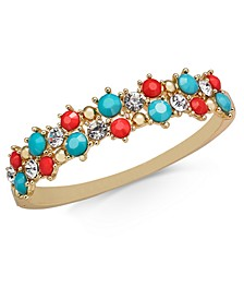 Gold-Tone Crystal & Stone Bangle Bracelet, Created for Macy's