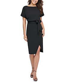 Blouson Wrap Dress