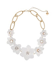 Gold Tone and White Flower Collar Necklace