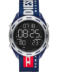 Men's Digital Crusher Navy Nylon Strap Watch 46mm