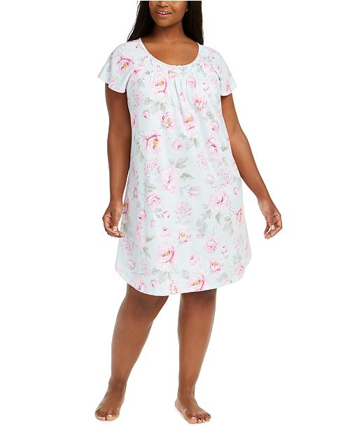 Miss Elaine Plus Size Rose-Print Sleep Shirt