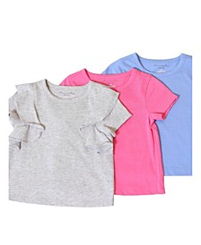 Toddler, Little, and Big Girls 3-Pack Solid Short-Sleeve Tee Shirts