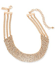 "INC Rose Gold-Tone Crystal Choker Necklace, 12"" + 3"" extender, Created For Macy's"