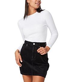 Woven Havana Cord Mini Skirt