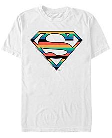 DC Men's Superman Stripes Logo Short Sleeve T-Shirt