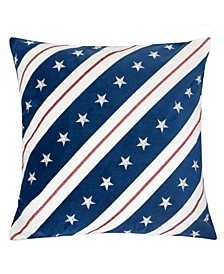 Stripes Independence Day Square Decorative Throw Pillow