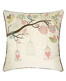 Lilly Embroidered Linen Square Decorative Throw Pillow