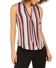 Striped Tie-Trim V-Neck Blouse