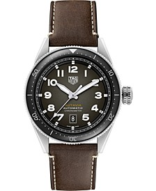 Autavia Men's Swiss Automatic Chronometer Brown Leather Strap Watch 42mm