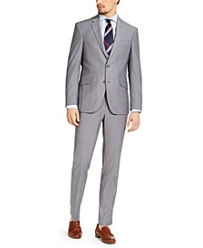 Men's Slim-Fit Techni-Cole Stretch Light Gray Micro Stripe Suit, Created for Macy's
