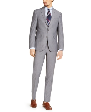Kenneth Cole Reaction Men's Slim-Fit Techni-Cole Stretch Light Gray Micro Stripe Suit, Created for Macy's