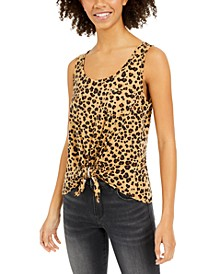 Juniors' Cheetah-Print Tie-Front Tank Top