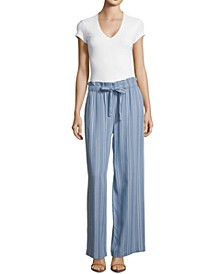 Petite Striped Wide-Leg Pants