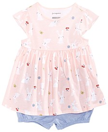 Baby Girls Bunny-Print Cotton Tunic & Ruffle-Back Cotton Shorts, Created for Macy's