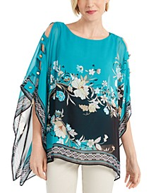 Printed Chiffon Poncho Top, Created for Macy's