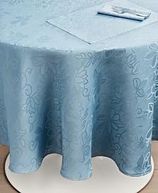 "CLOSEOUT! Vivian Floral Blue Tablecloth, 70"" Round"