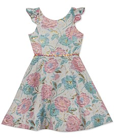 Toddler Girls Floral-Print Brocade Dress