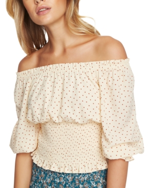 1.state Polka-dot Off-the-shoulder Top In Amber Rose